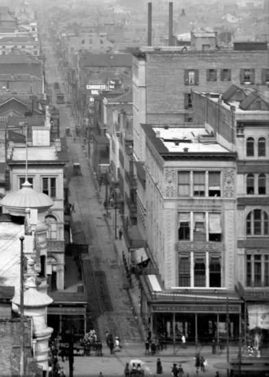 View down Bourbon Street, c1900, courtesy Library of Congress and Bourbon Street: A History by Richard Campanella
