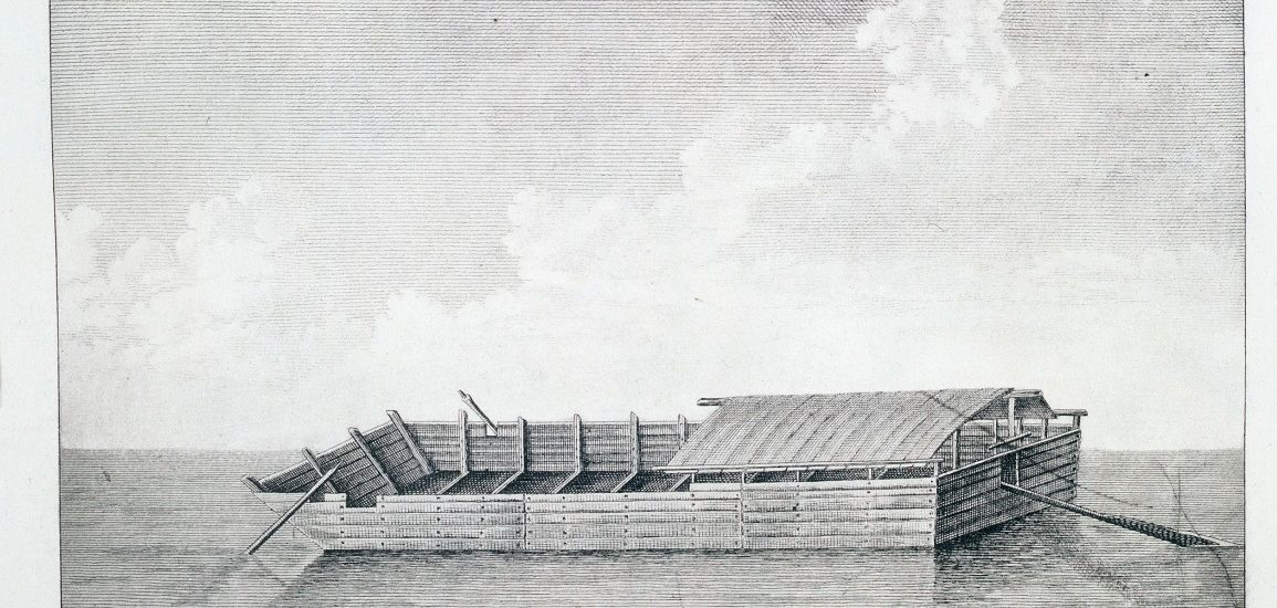 Flat bottom boat of the style used during the time period when Abraham Lincoln traveled along the Mississippi River to New Orleans.